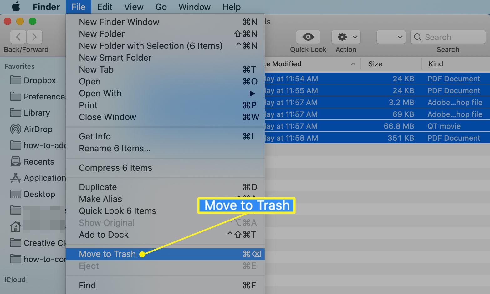 Finder File menu with Move to Trash selected