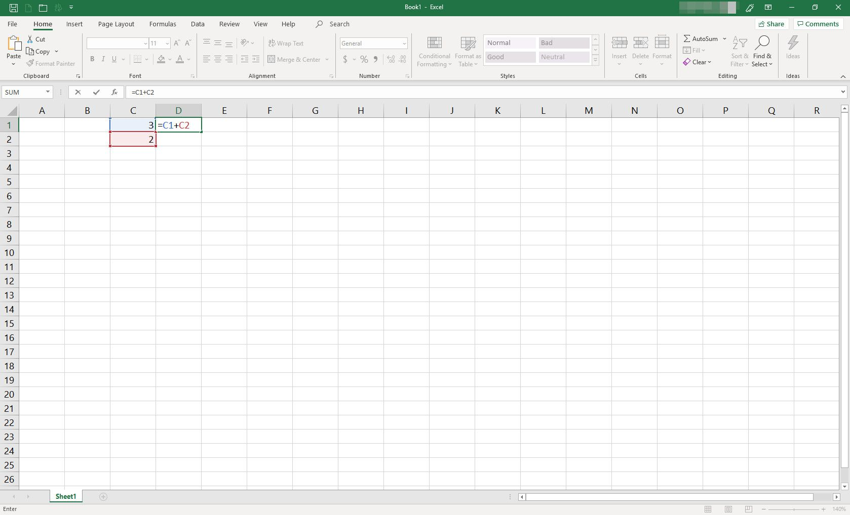 MS Excel spreadsheet with two cells populated with data and formula typed into a third cell