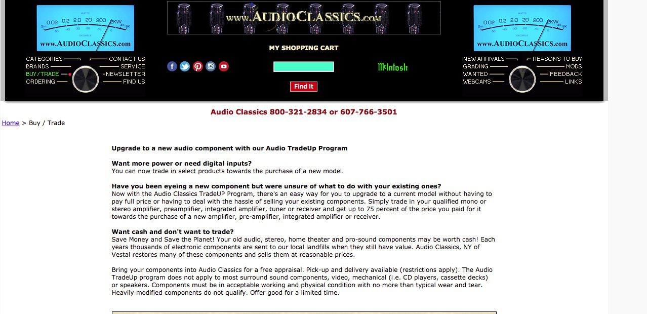 Audio Classics online site for used stereo sales