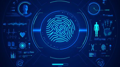 Stylised image of a blue security system with biometric and password data.