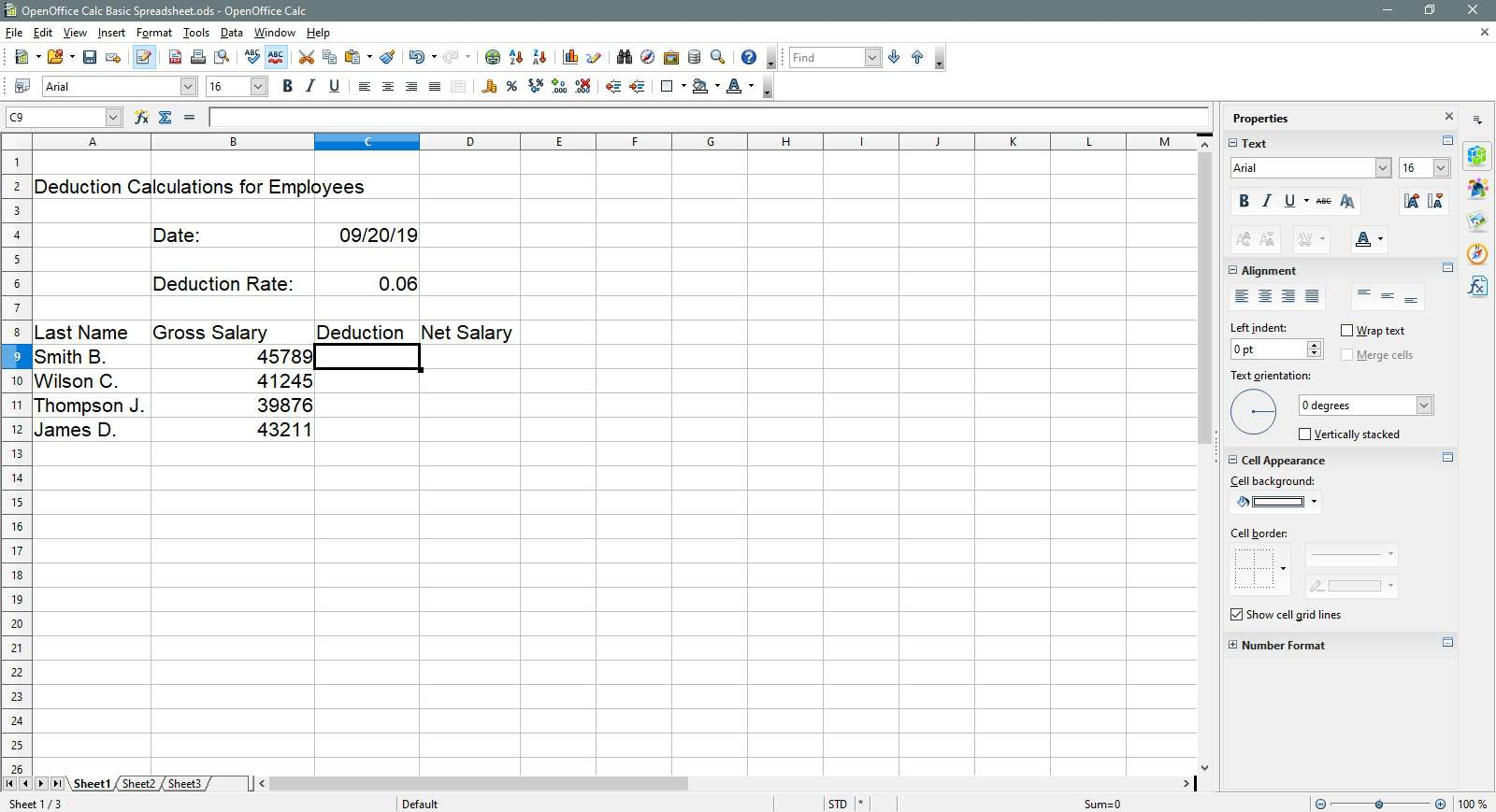 The cell C9 is selected in OpenOffice Calc.