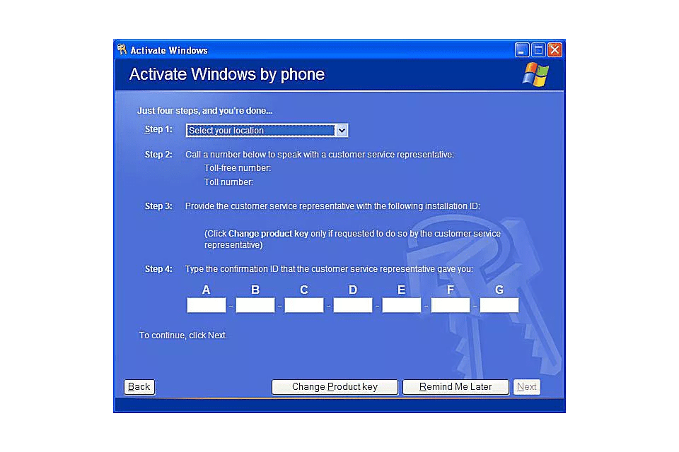 windows xp no activation code