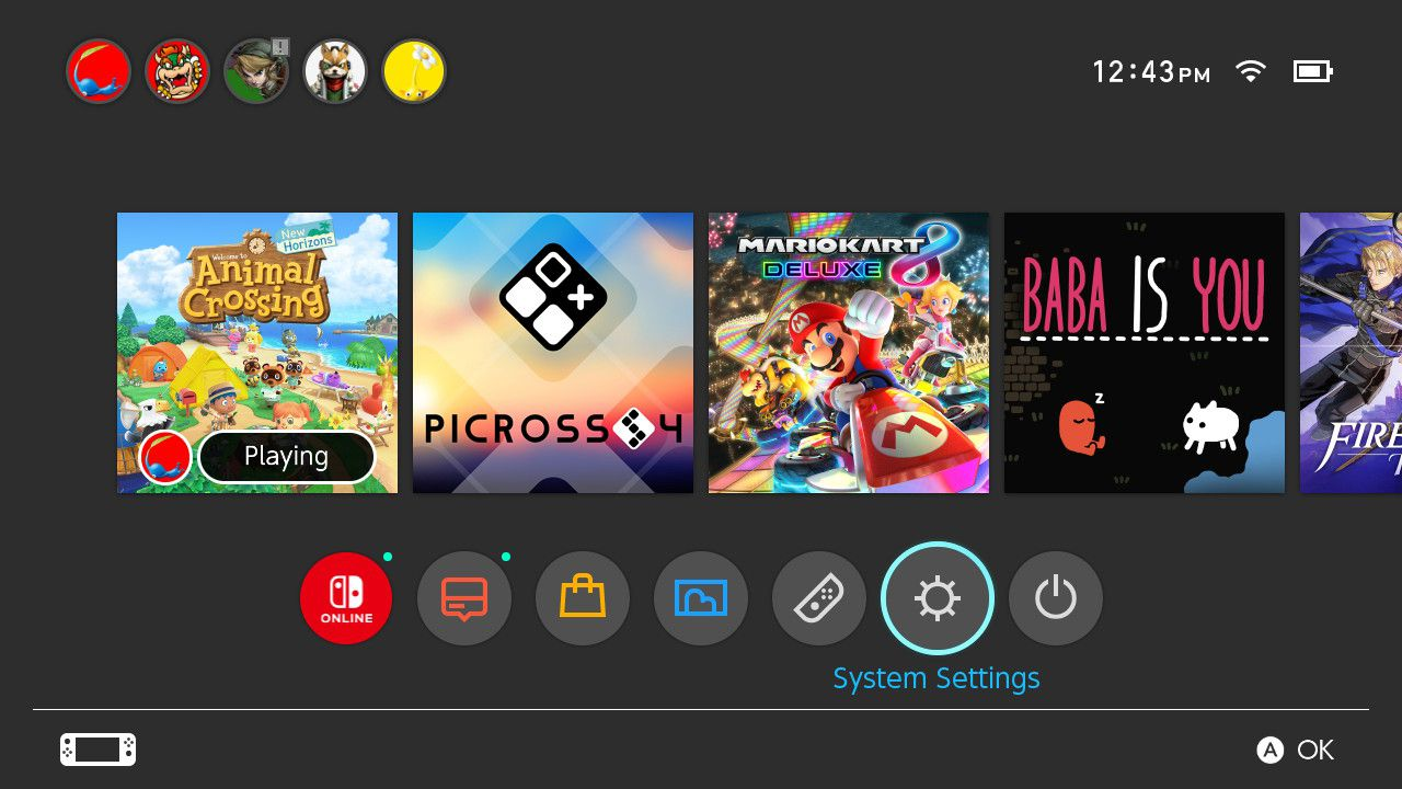 Selecting System Settings on Nintendo Switch home menu