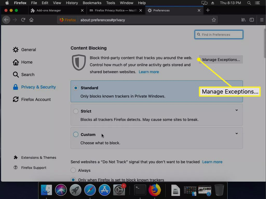 Content Blocking screen in Firefox with Manage Exceptions highlighted