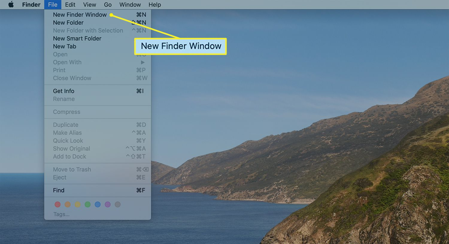 Location for opening a new Finder Window from Finder menu bar
