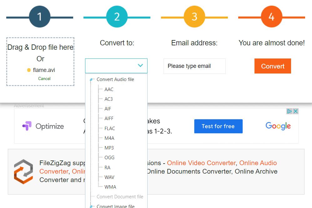 FileZigZag online AVI conversion