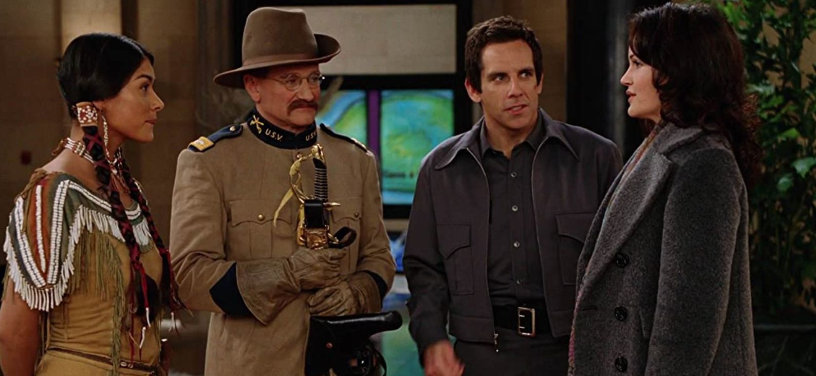 Robin Williams, Carla Gugino, Ben Stiller, and Mizuo Peck in 'Night at the Museum'