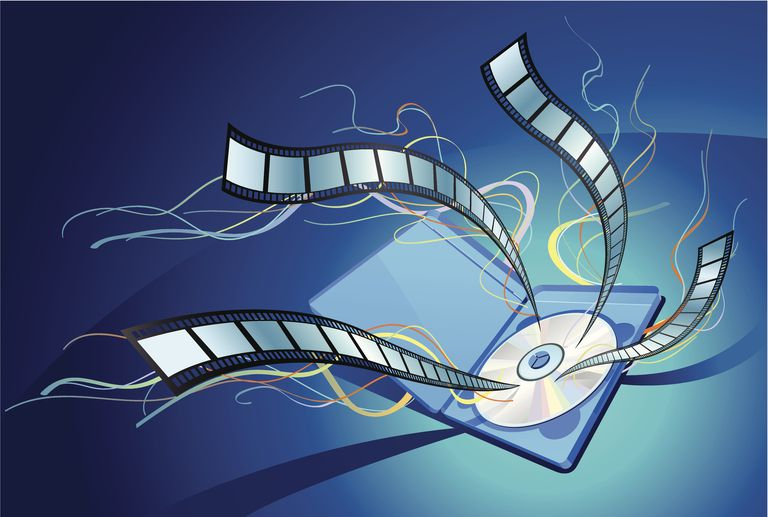 Illustration of blu-ray disc in package with film strips flying out of the disc