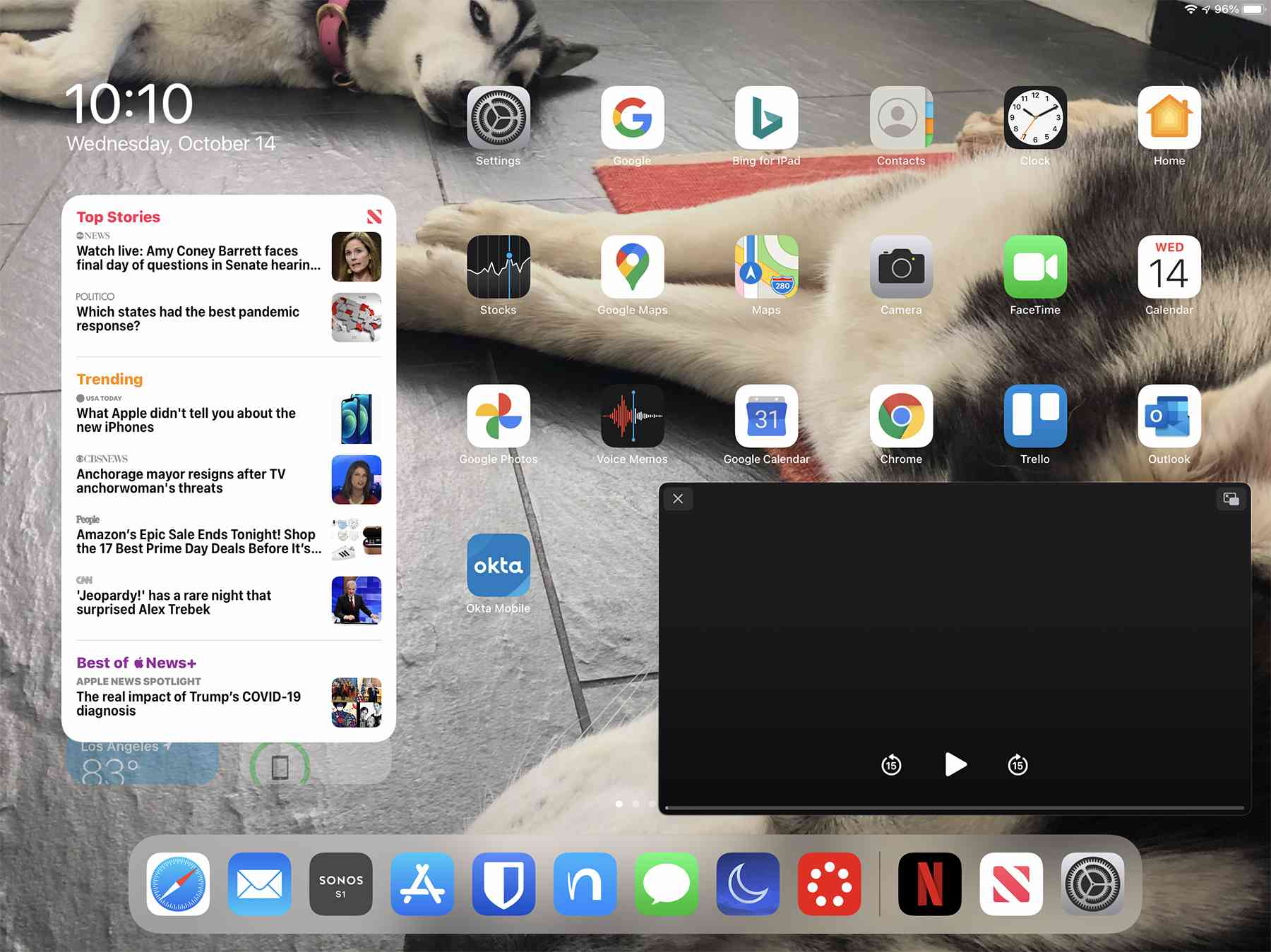 Picture-in-picture on the iPad Home screen