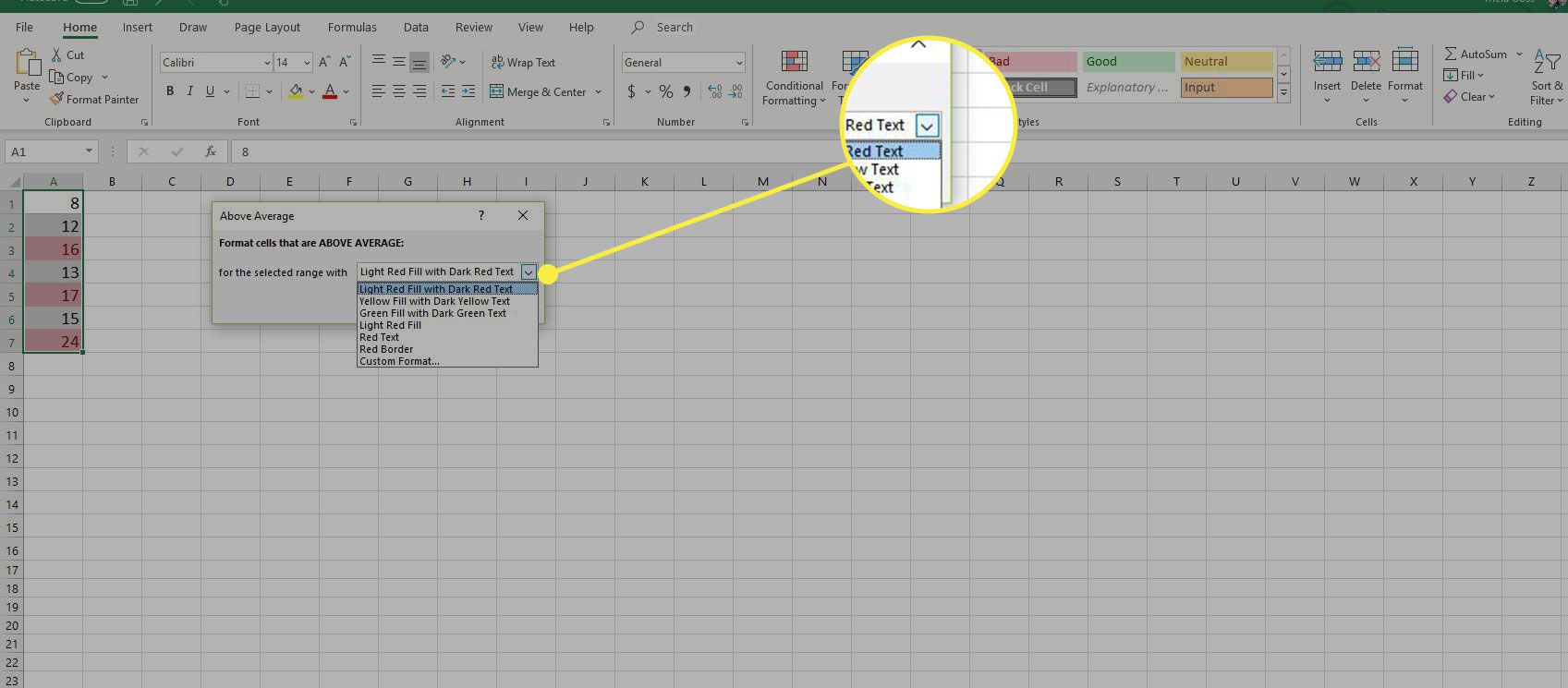 A screenshot of Excel with the Conditional Formatting dropdown menu highlighted