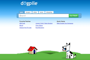 A screenshot of Dogpile, one of the top web search engines.