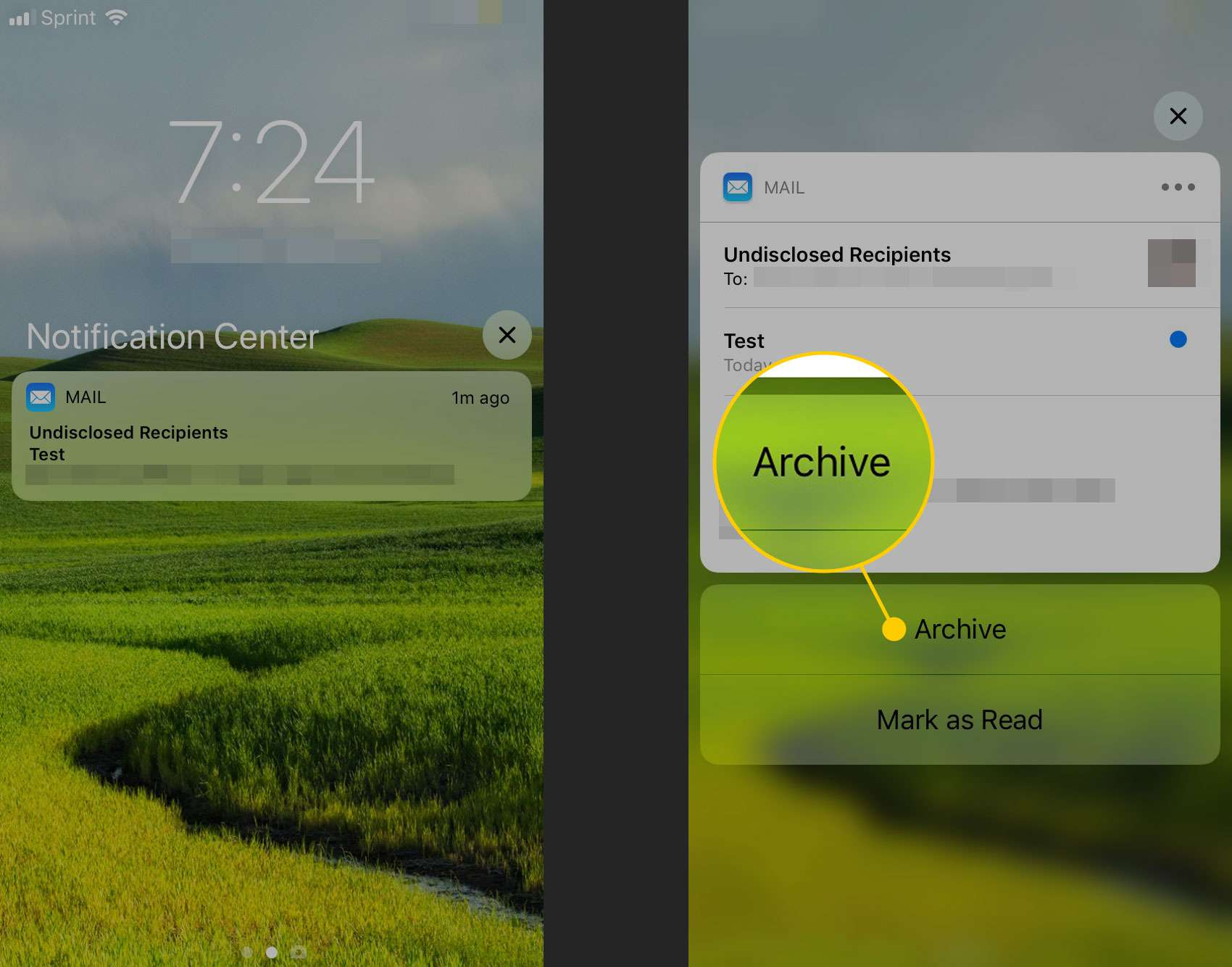 Archiving an email from an alert in the Notification Center