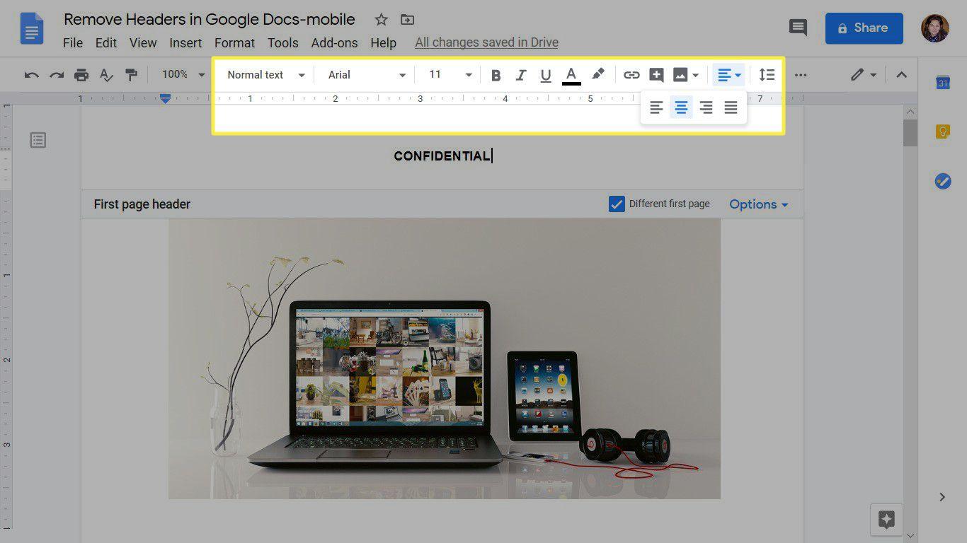 Formatting text in a Google Docs header