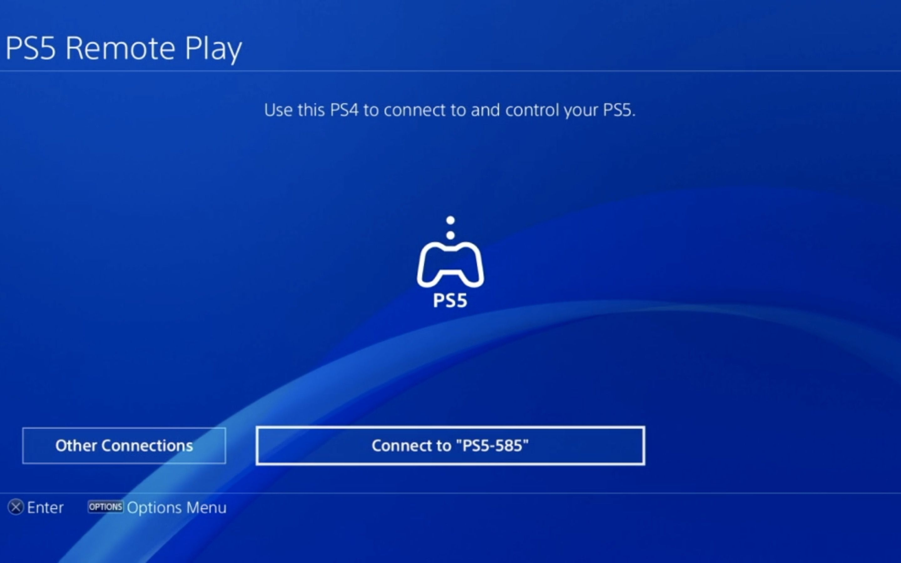 The Connection screen in PS5 Remote Play