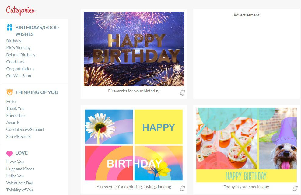 Kisseo Happy Birthday Virtual Cards Screenshot