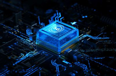 A CGI rendering of a 5G chip on a motherboard.