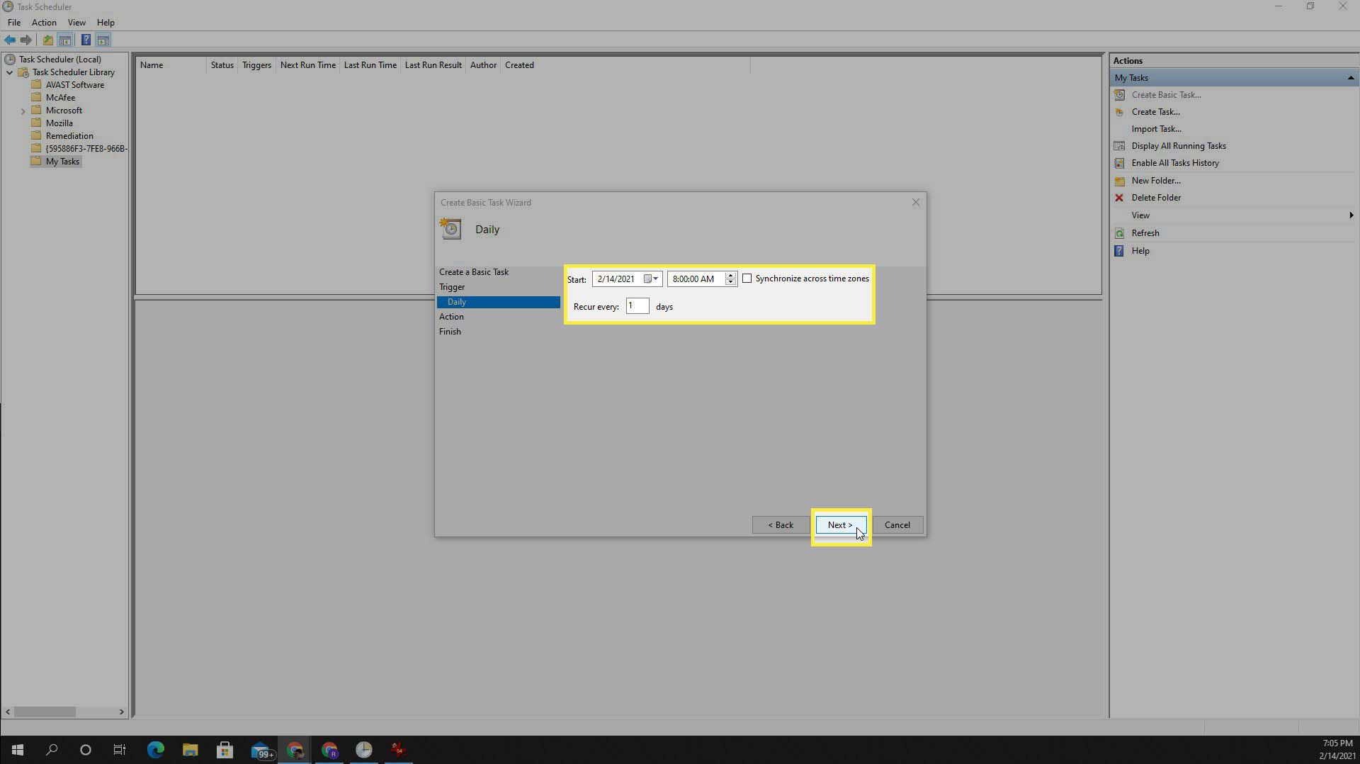 Setting up a daily task in Task Scheduler in Windows 10.