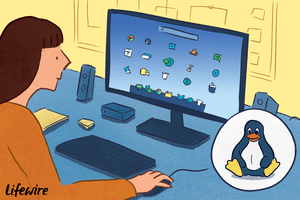 Illustration of a person using Linux on a desktop computer