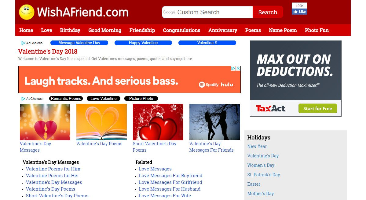 Screenshot Of The WishAFriend Website Valentines Day Category