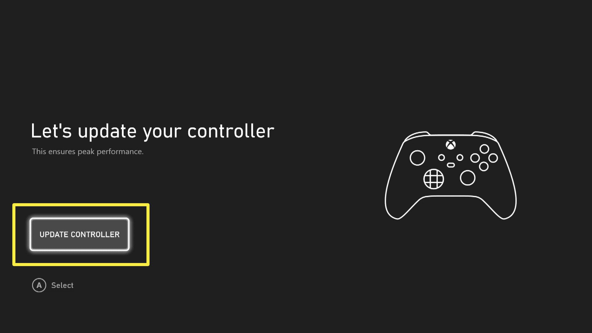 The Update your Controller dialogue when you've first connected your console