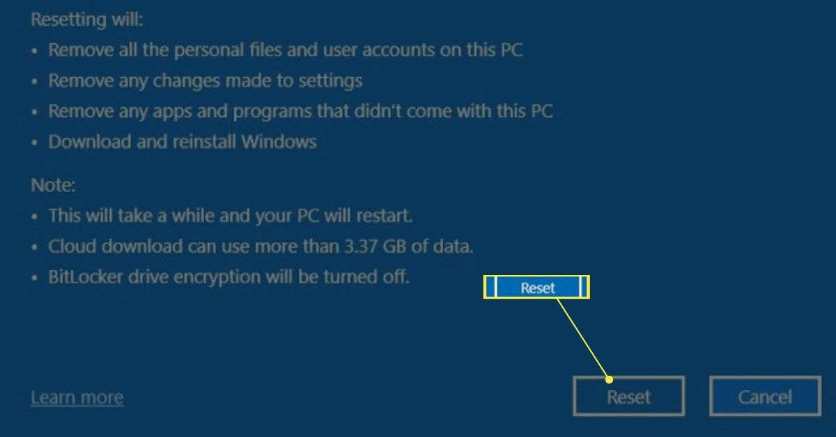 The final reset option on an Asus laptop.