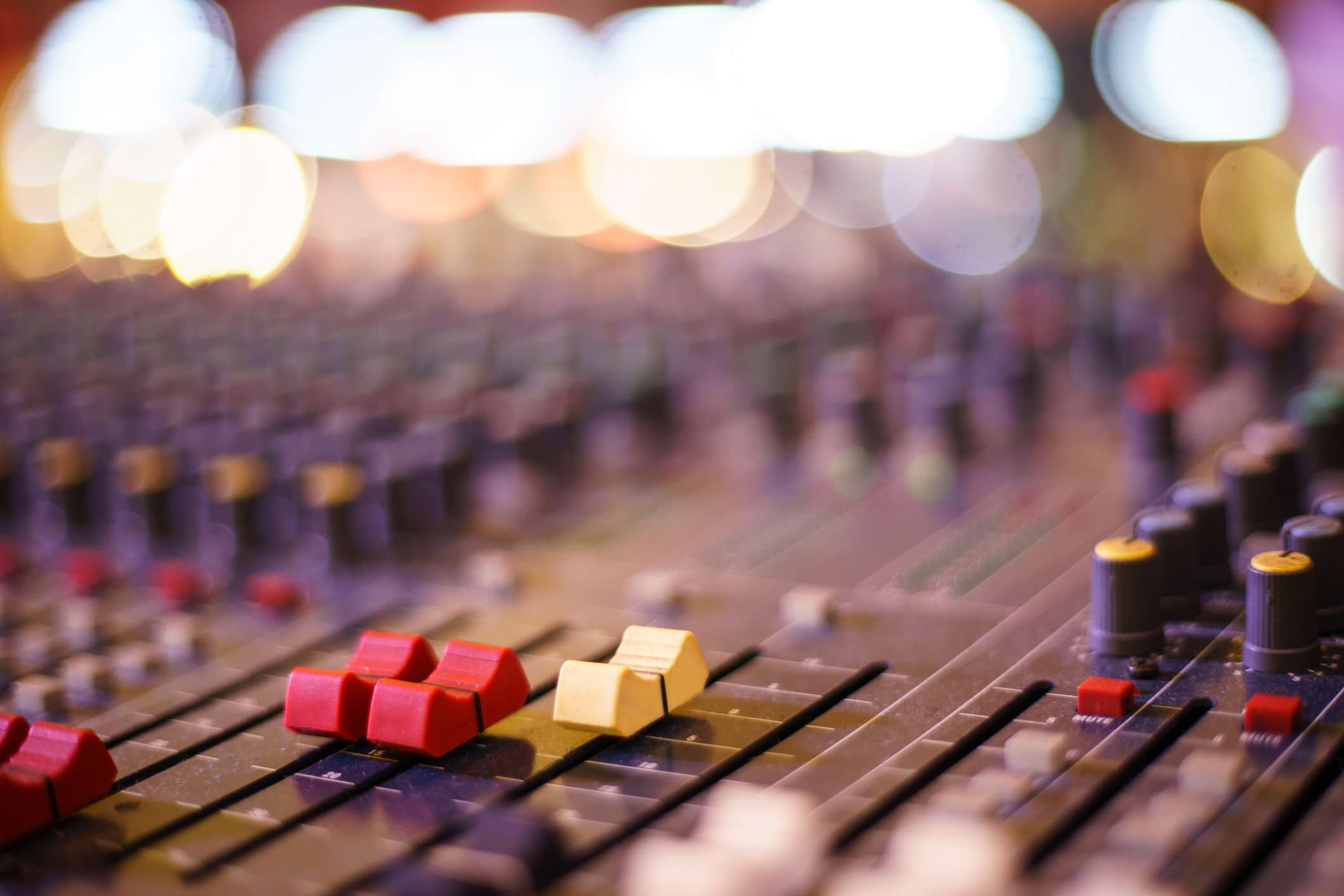 Audio sound mixer and amplifier equipment, sound acoustic musical mixing, engineering concept background.