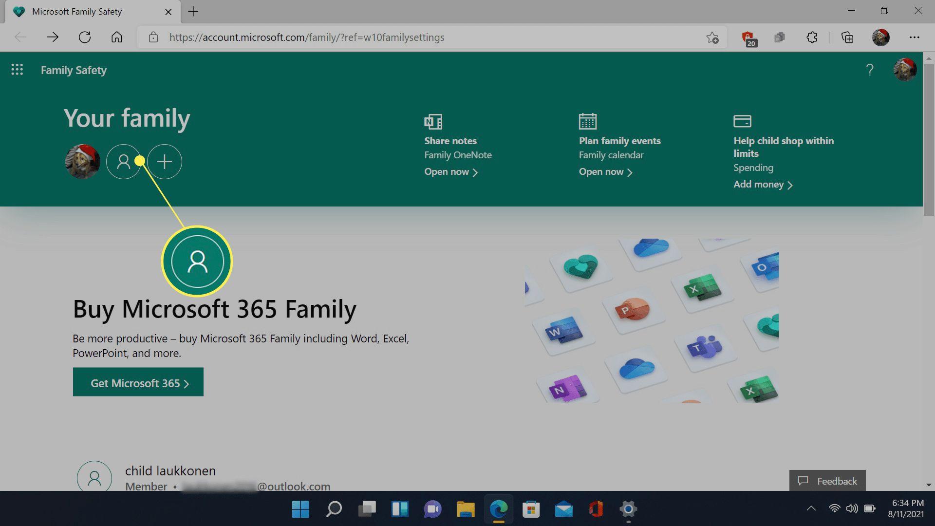 Child profile icon (center icon under