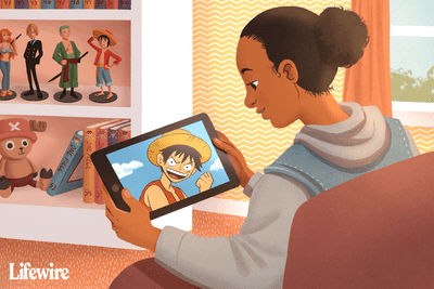 Person watching One Piece anime on a tablet