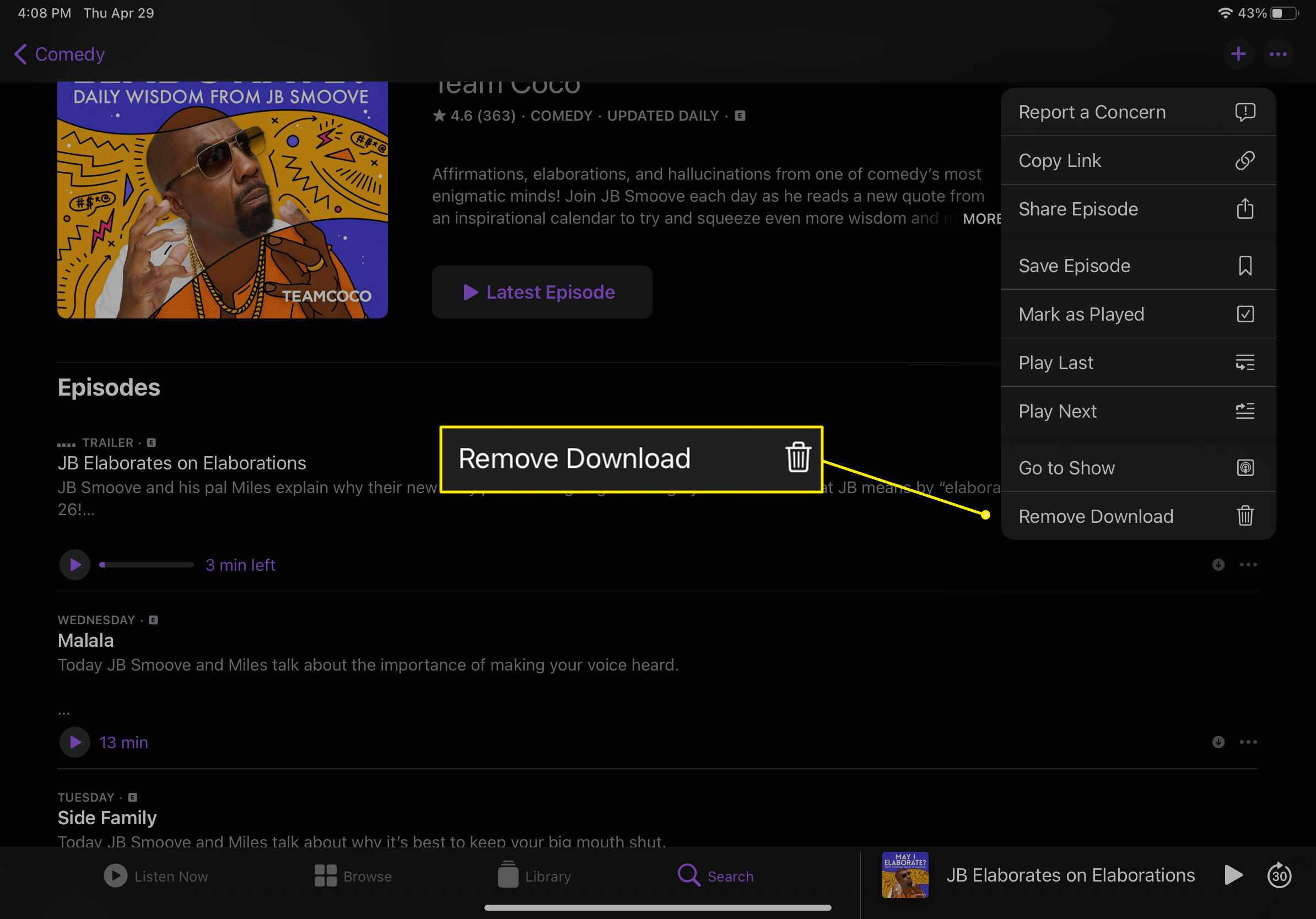 An Apple Podcasts episode with the 'Remove Download' option highlighted