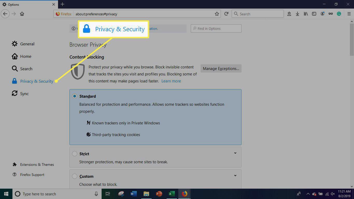Privacy & Security Menu
