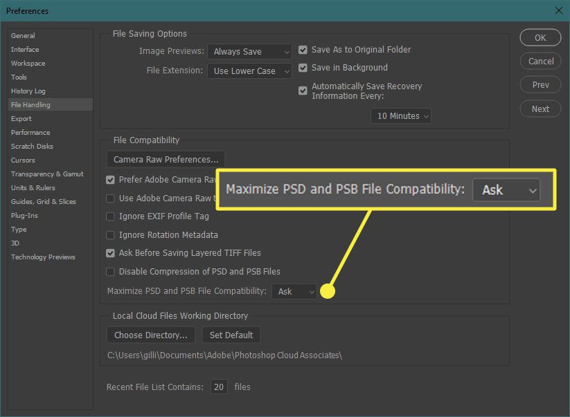 A screenshot of Photoshop preferences with the Maximize Compatibility section highlighted