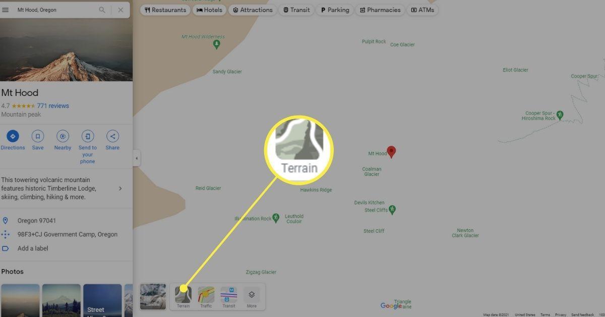 Terrain in the Layers menu on Google Maps