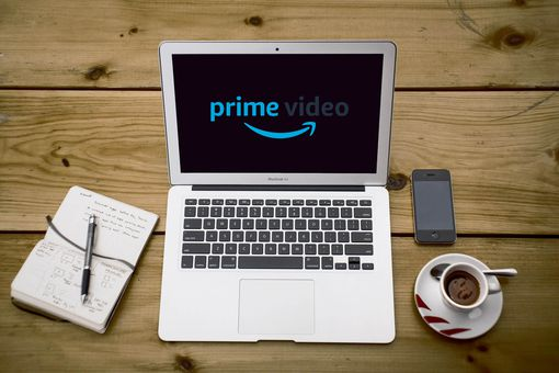 Laptop with Prime Video on the screen.