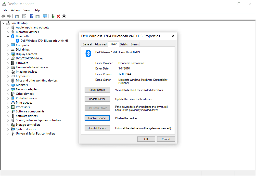 Device Manager Dell Wireless Bluetooth properties