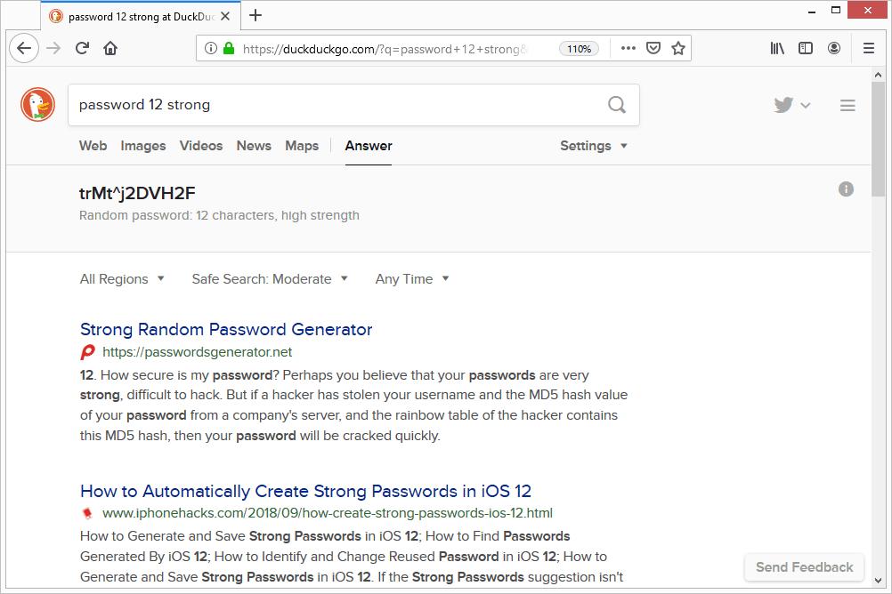 DuckDuckGo strong password search