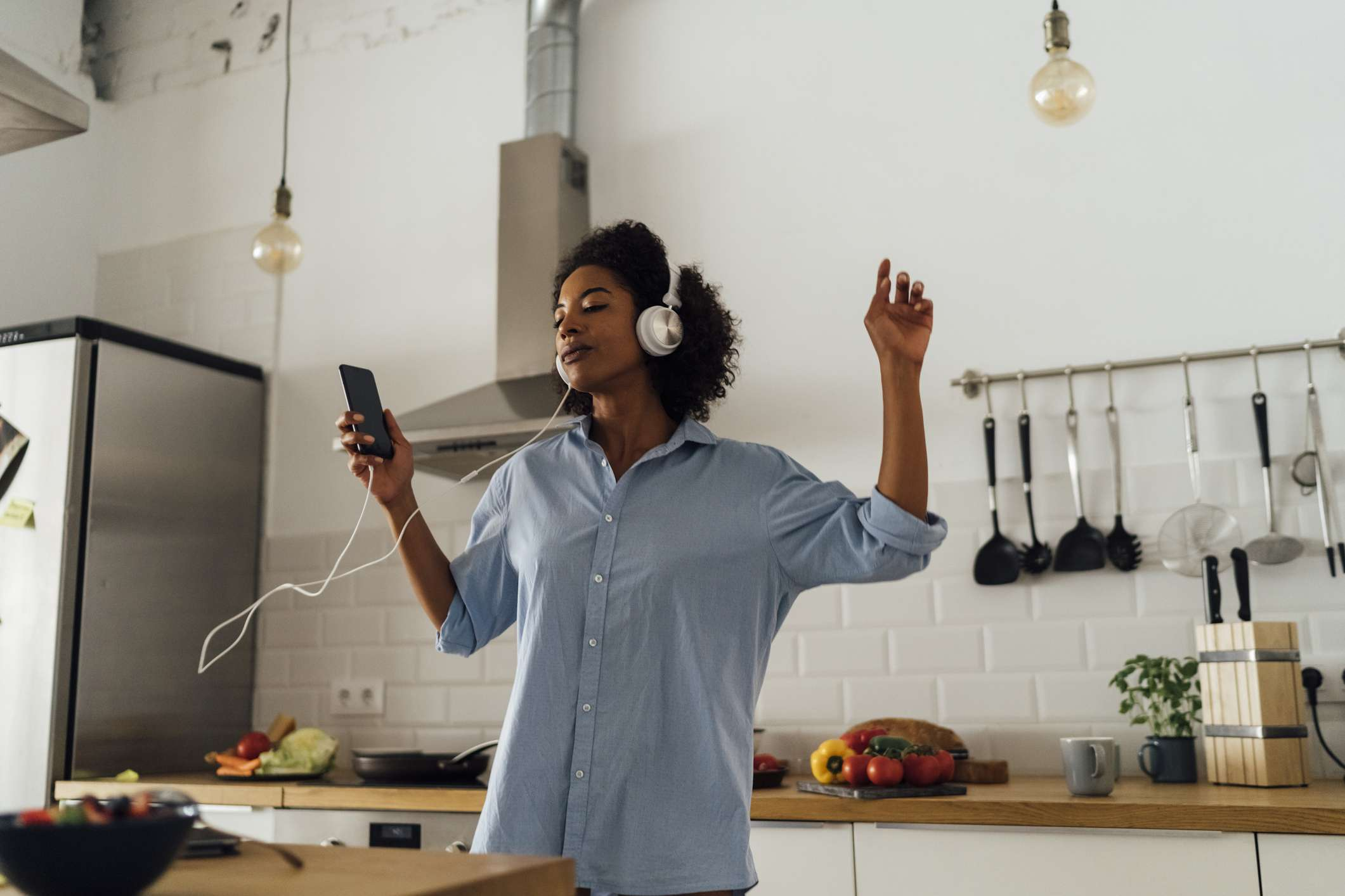Woman listening to music on phone