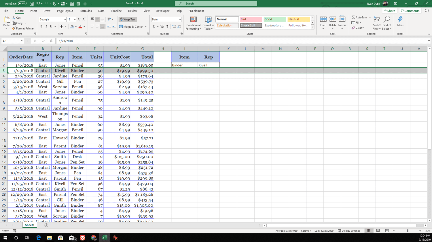 Screenshot of searching for items in columns to the left in XLOOKUP