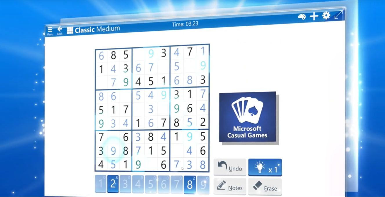 A sudoku puzzle in the Microsoft Sudoku app for Windows 10.