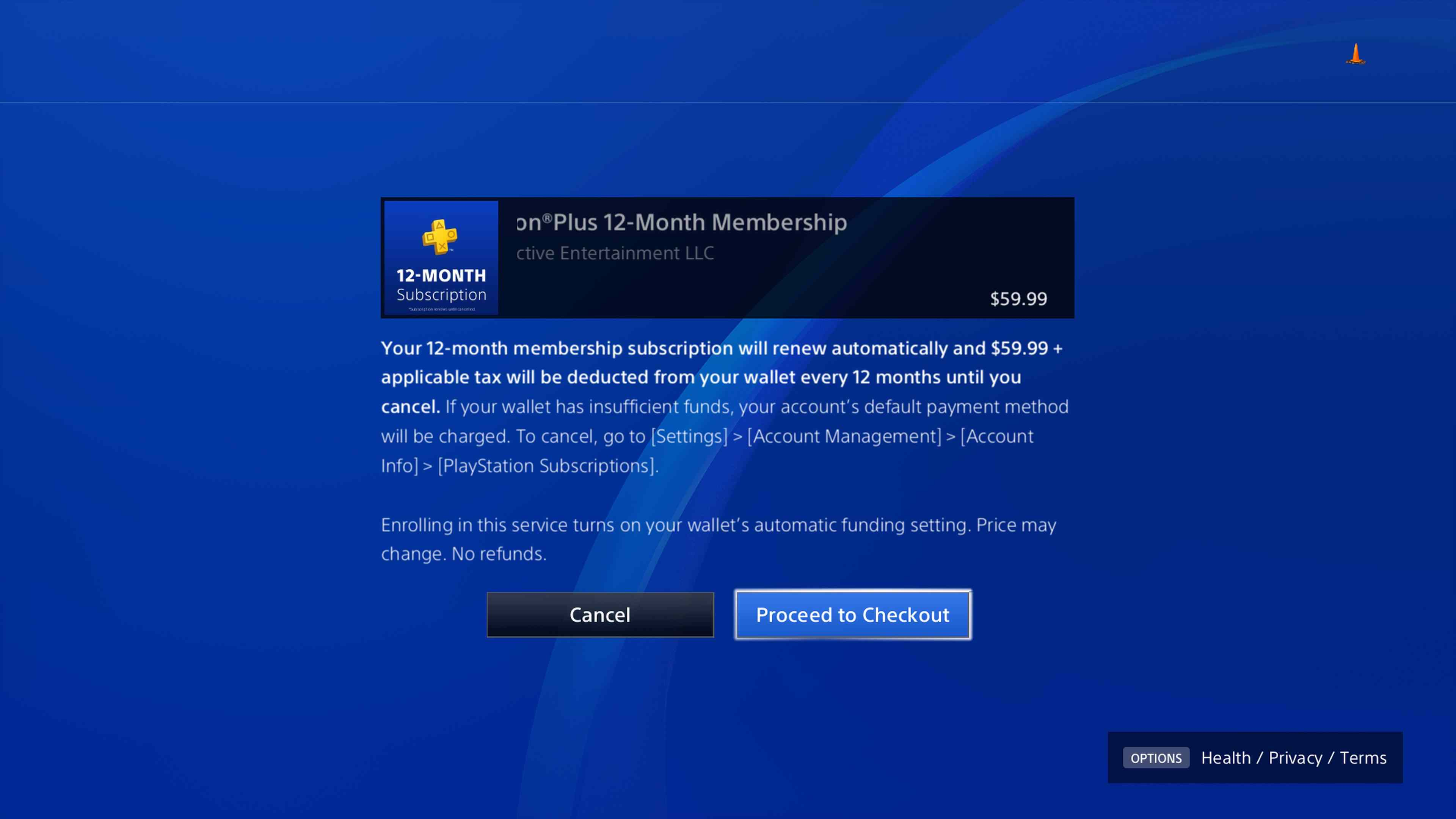 A screenshot of the PS Plus checkout process.
