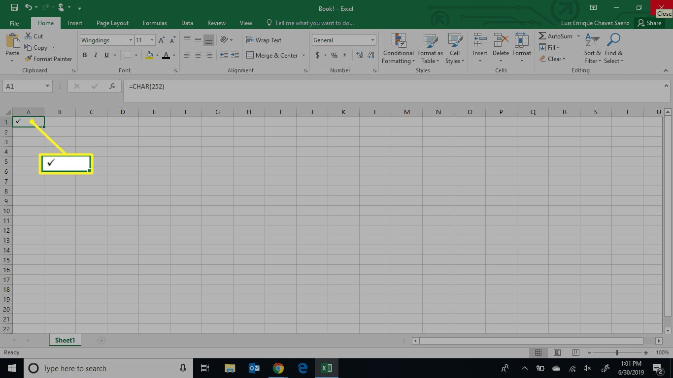 Excel showing check mark made with character code