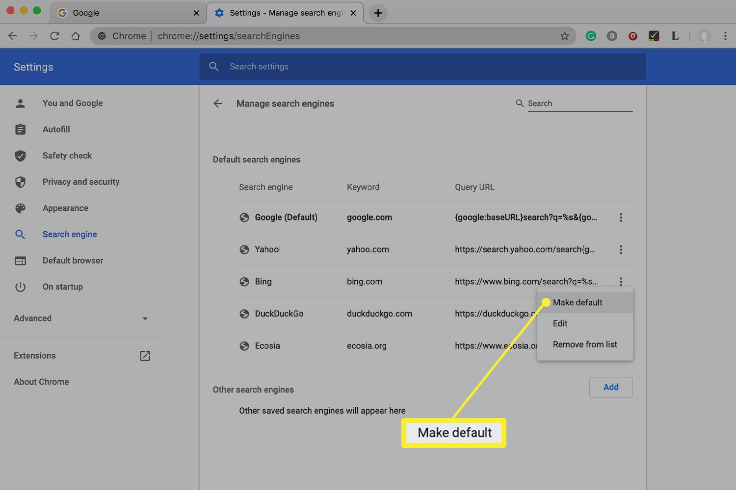 default search engine options in Chrome