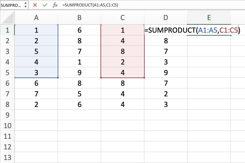 Screenshot of Excel showing various ranges