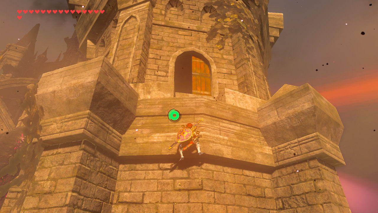 Climbing Hyrule Castle spire in The Legend of Zelda: Breath of the Wild.