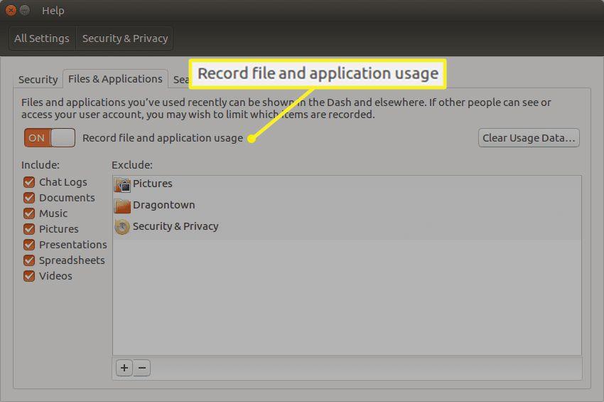 Changing the recent history settings in Ubuntu Dash