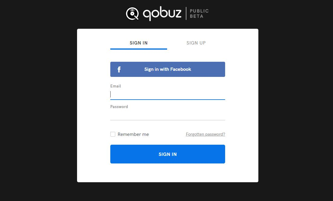 Qobuz Account Sign-In Page