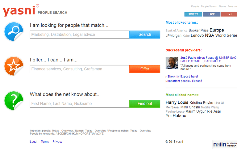 screenshot of the yasni website