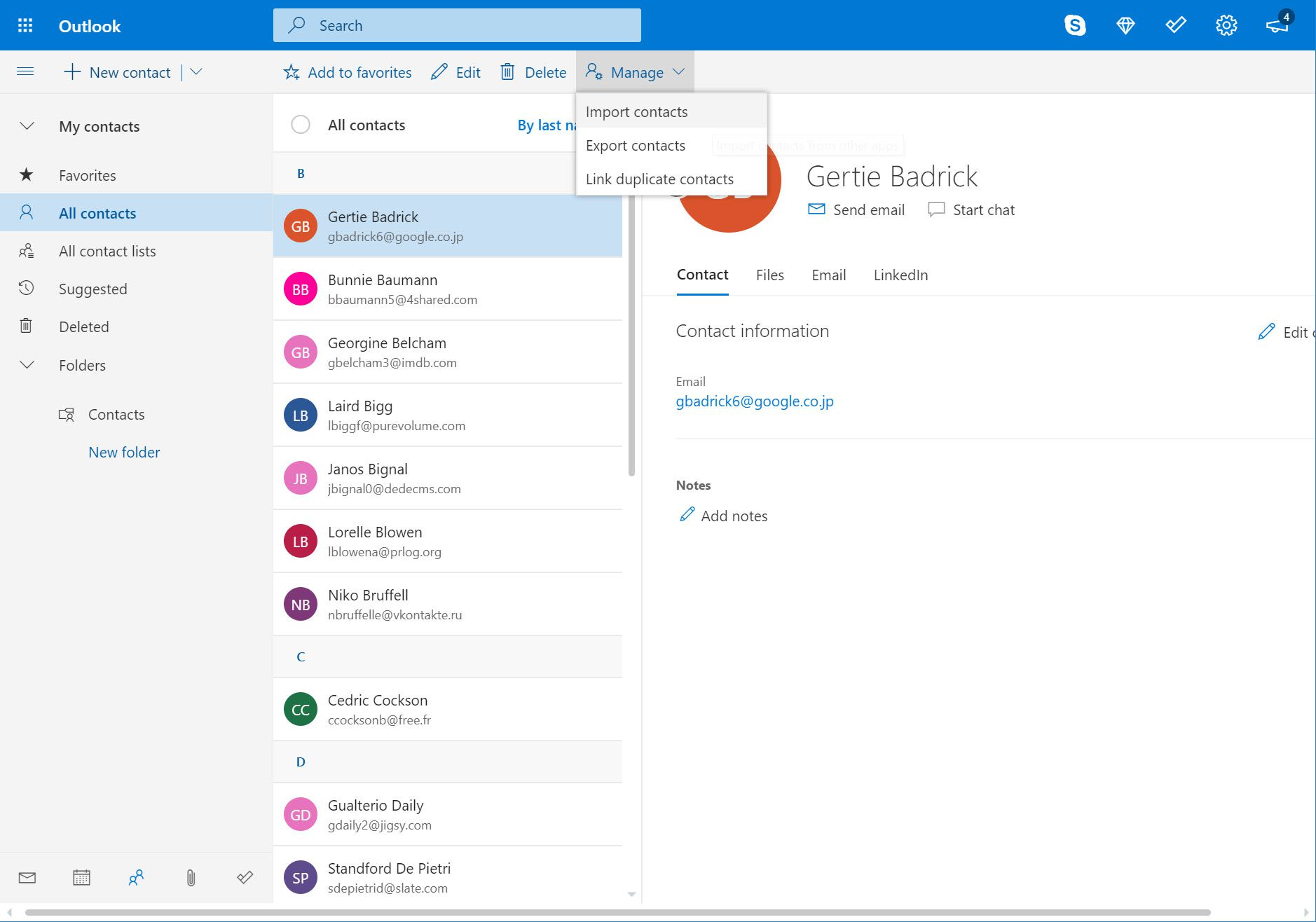Manage menu and Import contacts selection in Outlook.com