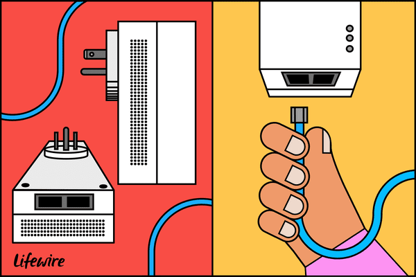Illustration of a powerline adapter from different angles.