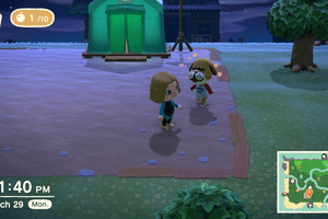 One character trying to talk to another in Animal Crossing New Horizon.
