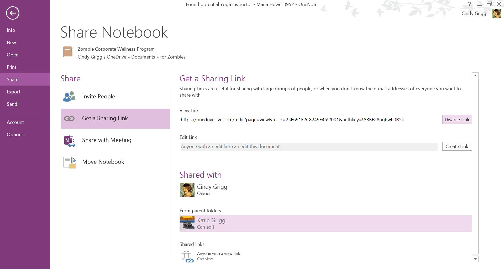 Disabling notebook sharing